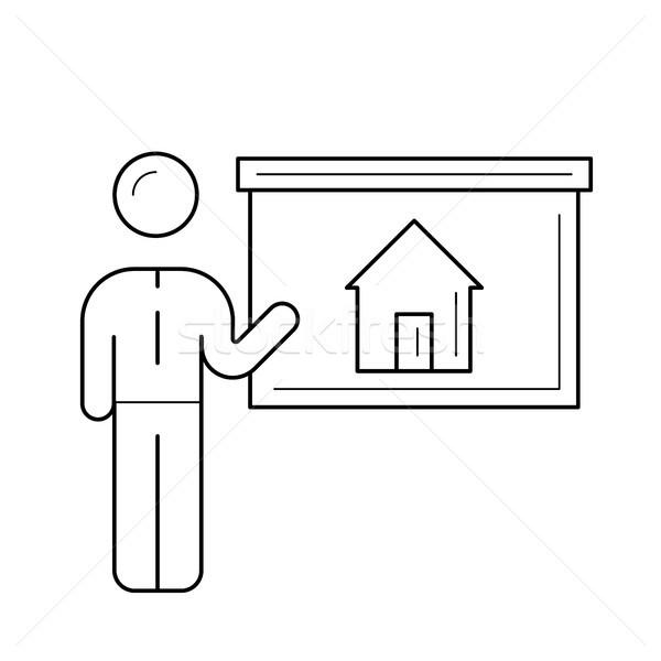 Real estate agent at house presentation line icon. Stock photo © RAStudio