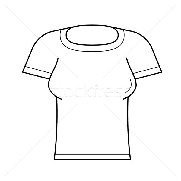 Vrouw strak tshirt vector lijn icon Stockfoto © RAStudio