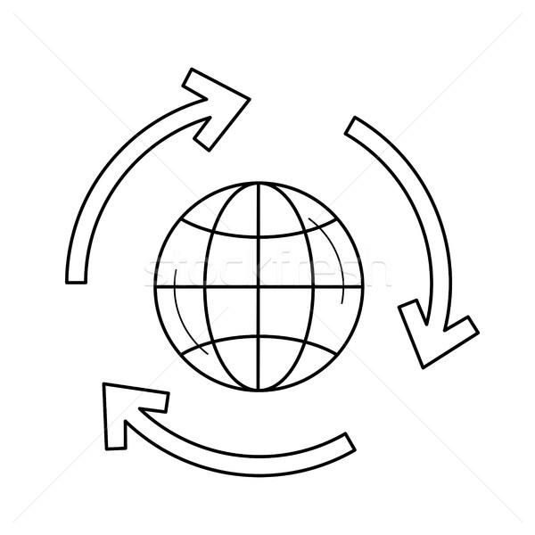Globe in circular arrows vector line icon. Stock photo © RAStudio