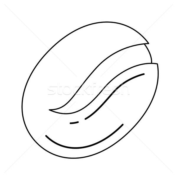 Koffieboon vector lijn icon geïsoleerd witte Stockfoto © RAStudio