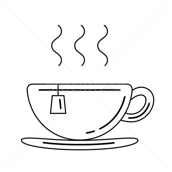 Cup with tea bag vector line icon. Stock photo © RAStudio
