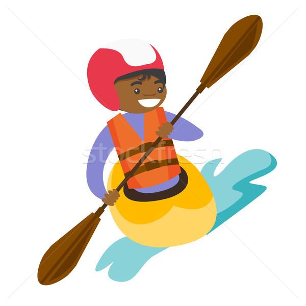 Young black woman riding a kayak. Stock photo © RAStudio