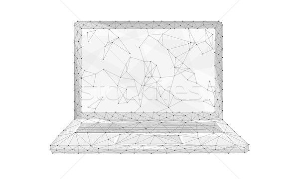 Polygon Laptop isoliert weiß Technologie Peer Stock foto © RAStudio