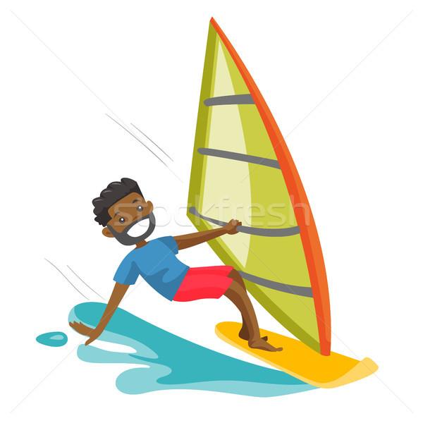 Siyah adam rüzgâr sörfü tahta mutlu adam yelken Stok fotoğraf © RAStudio