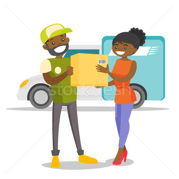 Corriere pacchetto donna uomo nero servizio consegna Foto d'archivio © RAStudio