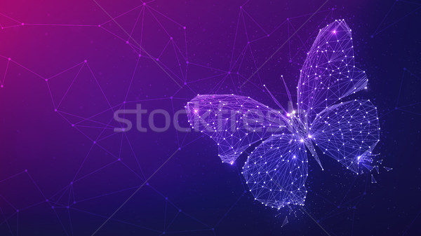 Polygon butterfly on blockchain hud banner. Stock photo © RAStudio