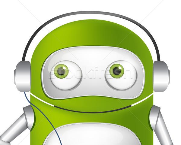 Cute Roboter Zeichentrickfigur Musik hören Avatar Vektor Stock foto © RAStudio