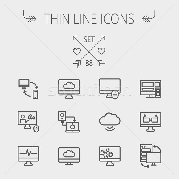 Stock photo: Technology thin line icon set
