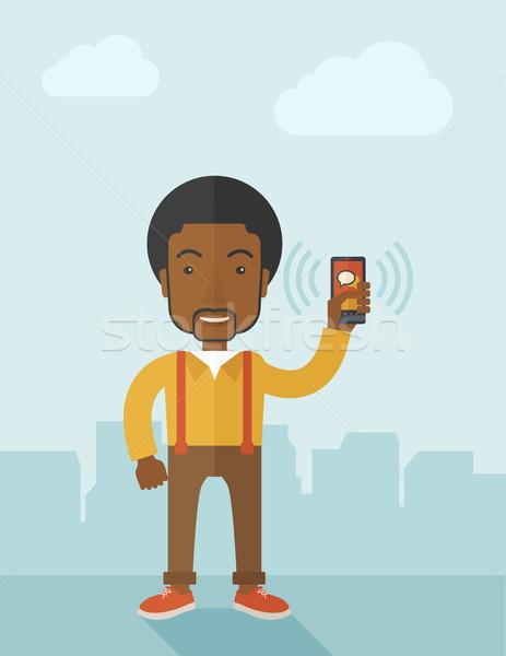Irodai dolgozó okostelefon tart kortárs stílus pasztell Stock fotó © RAStudio