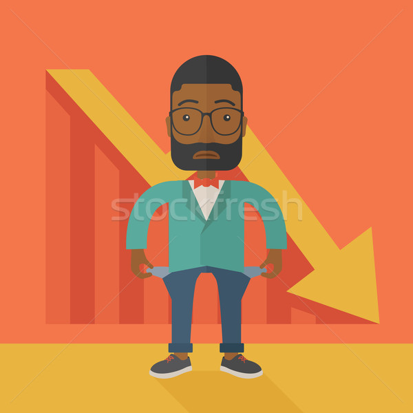 Afrikaanse zakenman is mislukt jonge man permanente slechte Stockfoto © RAStudio