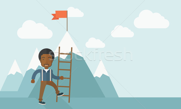 African man holding a ladder, step for success. Stock photo © RAStudio