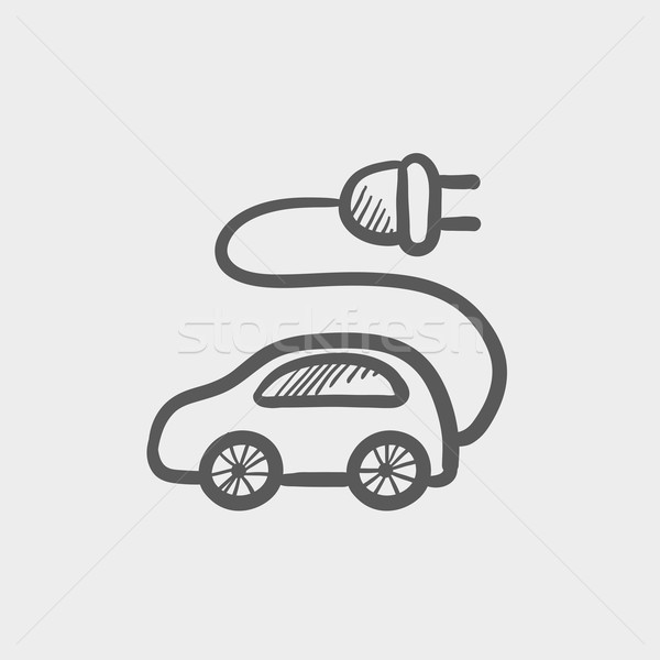 Elektrische auto schets icon web mobiele Stockfoto © RAStudio