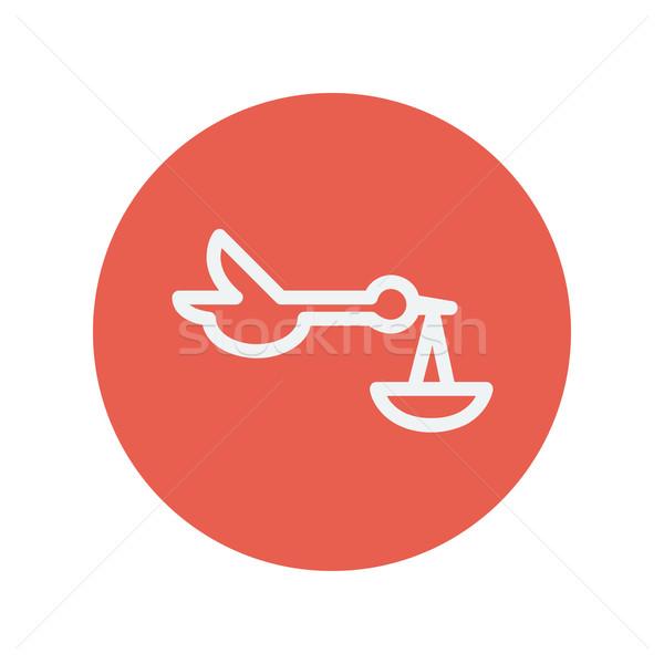 Baby legen Storch dünne line Symbol Stock foto © RAStudio