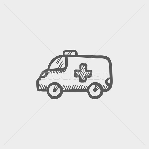 Ambulance auto icon schets web mobiele Stockfoto © RAStudio