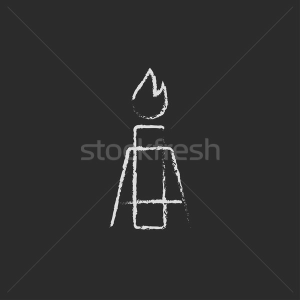 Gas llamarada icono tiza dibujado a mano Foto stock © RAStudio