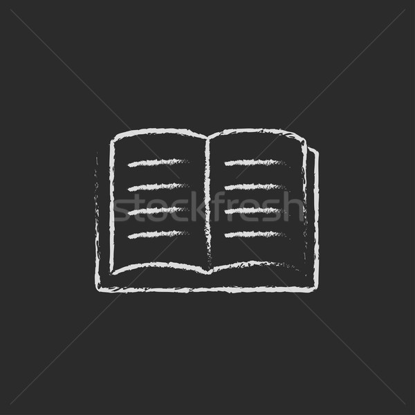 открытой книгой икона мелом рисованной доске Сток-фото © RAStudio