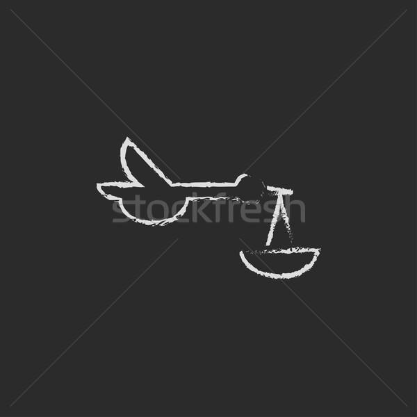 Baby legen Storch Symbol gezeichnet Kreide Stock foto © RAStudio