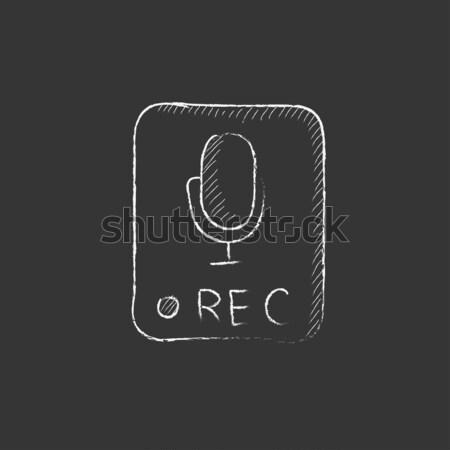 Record button icon drawn in chalk. Stock photo © RAStudio