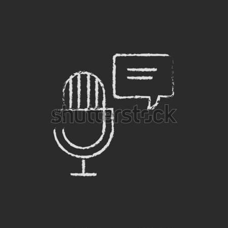 Microfono discorso piazza icona gesso Foto d'archivio © RAStudio