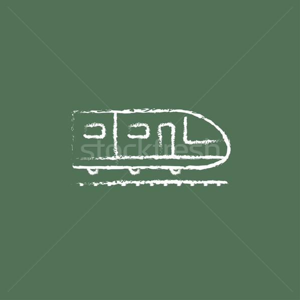 Modernes à grande vitesse train icône craie Photo stock © RAStudio
