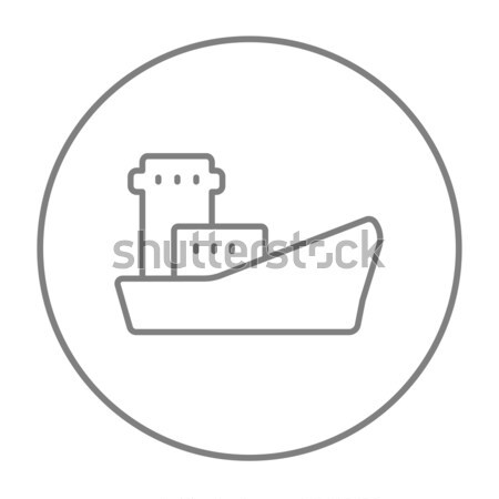 Carga navio porta-contentores linha ícone teia móvel Foto stock © RAStudio