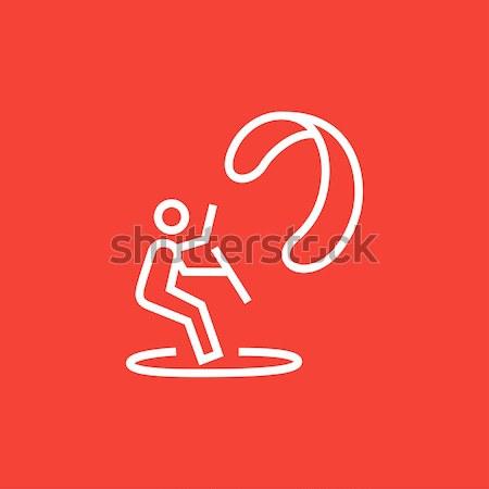 Kite surfen lijn icon web mobiele Stockfoto © RAStudio