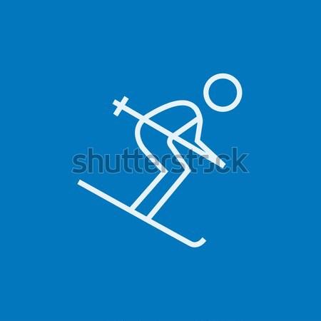 Downhill skiing line icon. Stock photo © RAStudio
