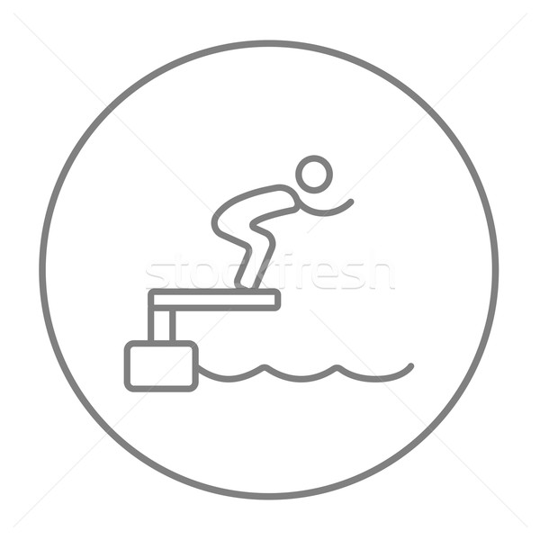 Swimmer jumping from starting block in pool line icon. Stock photo © RAStudio