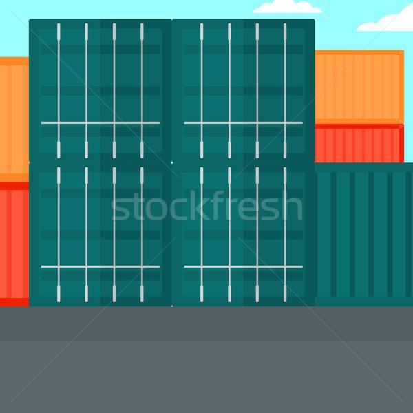 Wysyłki portu wektora projektu ilustracja placu Zdjęcia stock © RAStudio