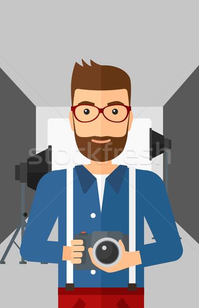 Glimlachend fotograaf camera man Stockfoto © RAStudio