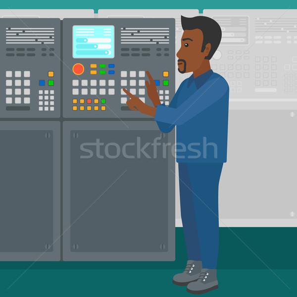 Mérnök áll irányítópanel férfi dolgozik gyár Stock fotó © RAStudio