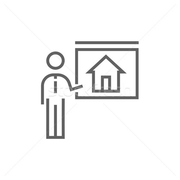 Makelaar tonen huis lijn icon hoeken Stockfoto © RAStudio