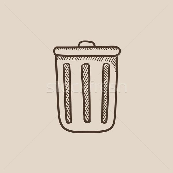 Cesto de lixo esboço ícone teia móvel infográficos Foto stock © RAStudio