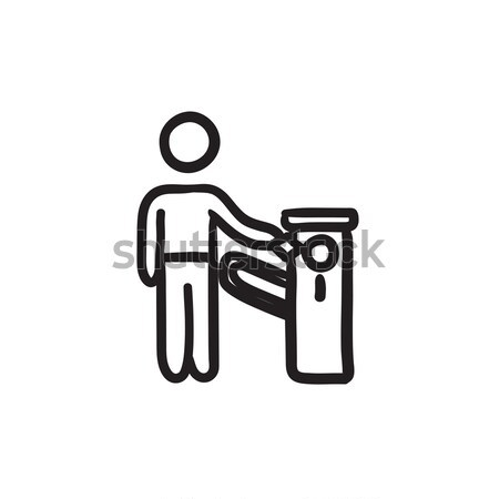 Man at car barrier line icon. Stock photo © RAStudio