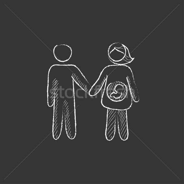 Husband with pregnant wife. Drawn in chalk icon. Stock photo © RAStudio