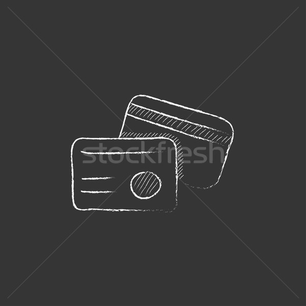 Stock photo: Identification card. Drawn in chalk icon.
