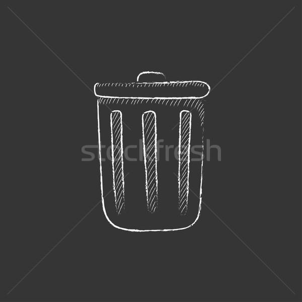 Trash can. Drawn in chalk icon. Stock photo © RAStudio
