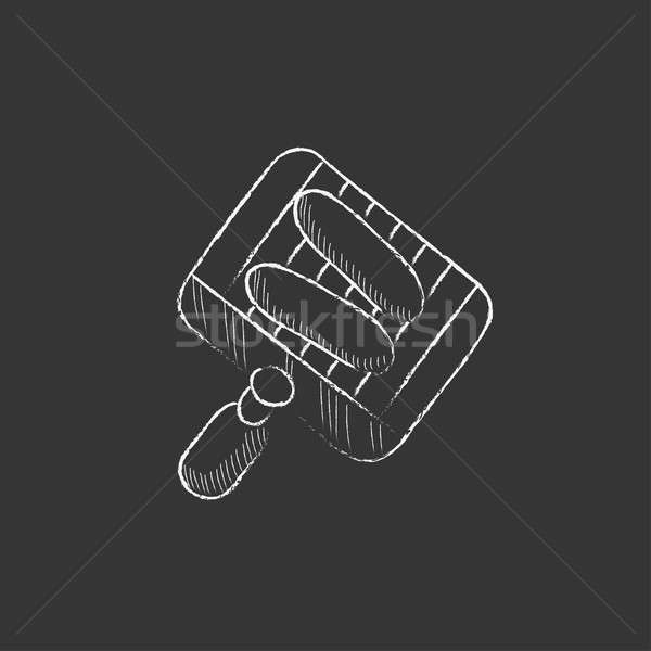 Grilled sausages on grate for barbecue. Drawn in chalk icon. Stock photo © RAStudio
