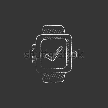 Usb flash drive rajzolt kréta ikon kézzel rajzolt Stock fotó © RAStudio