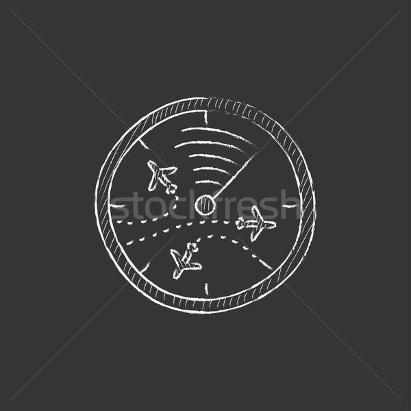 Radar ekranu samolotów kredy ikona Zdjęcia stock © RAStudio