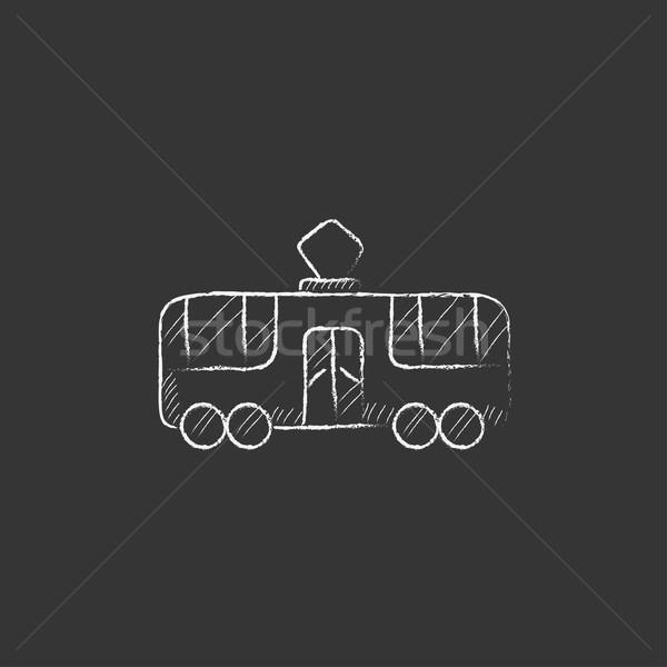 Tranvía tiza icono dibujado a mano vector Foto stock © RAStudio