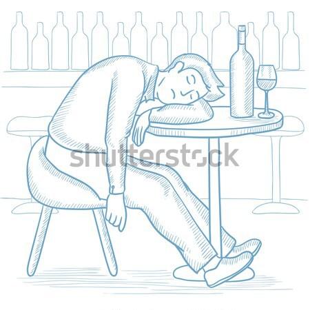 Férfi alszik bár asztal üveg üveg Stock fotó © RAStudio