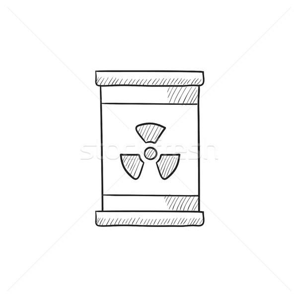 Stock fotó: Hordó · sugárzás · felirat · rajz · ikon · vektor
