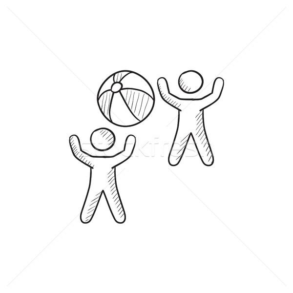 子供 演奏 インフレータブル ボール スケッチ アイコン ストックフォト © RAStudio