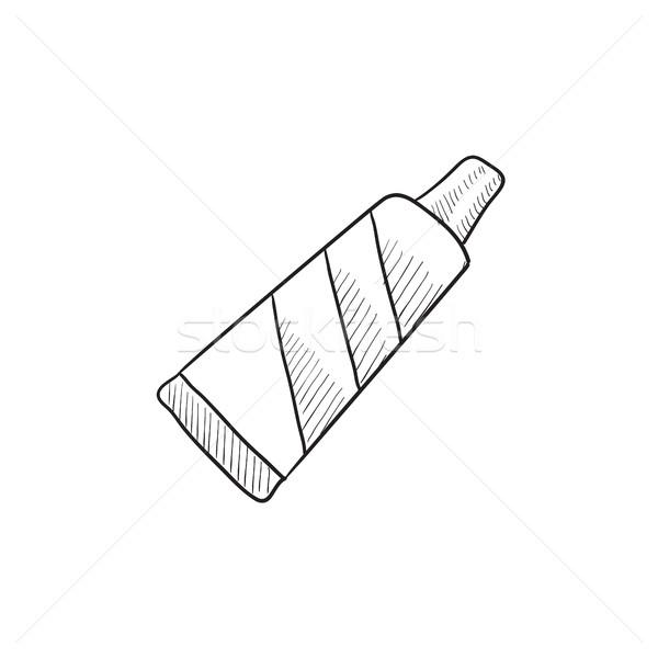 Tubo dentifricio sketch icona vettore isolato Foto d'archivio © RAStudio