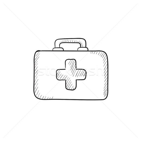 Stock fotó: Elsősegély · készlet · rajz · ikon · vektor · izolált