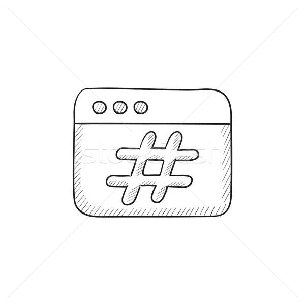 Böngésző ablak rajz ikon vektor izolált Stock fotó © RAStudio