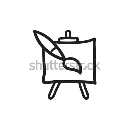 Easel and paint brush sketch icon. Stock photo © RAStudio