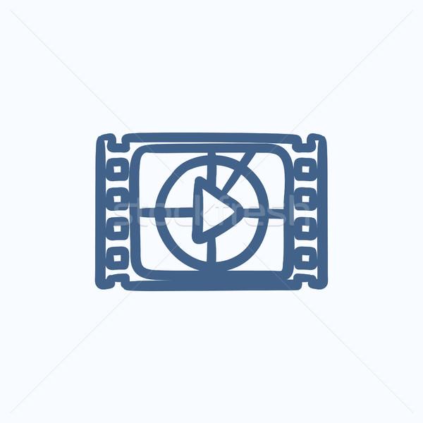 кинопленка играть кнопки эскиз икона вектора Сток-фото © RAStudio