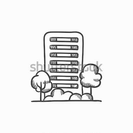 Residencial edificio árboles boceto icono vector Foto stock © RAStudio